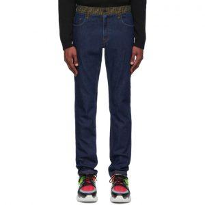 Fendi Blue Forever Fendi Contrast Waistband Jeans