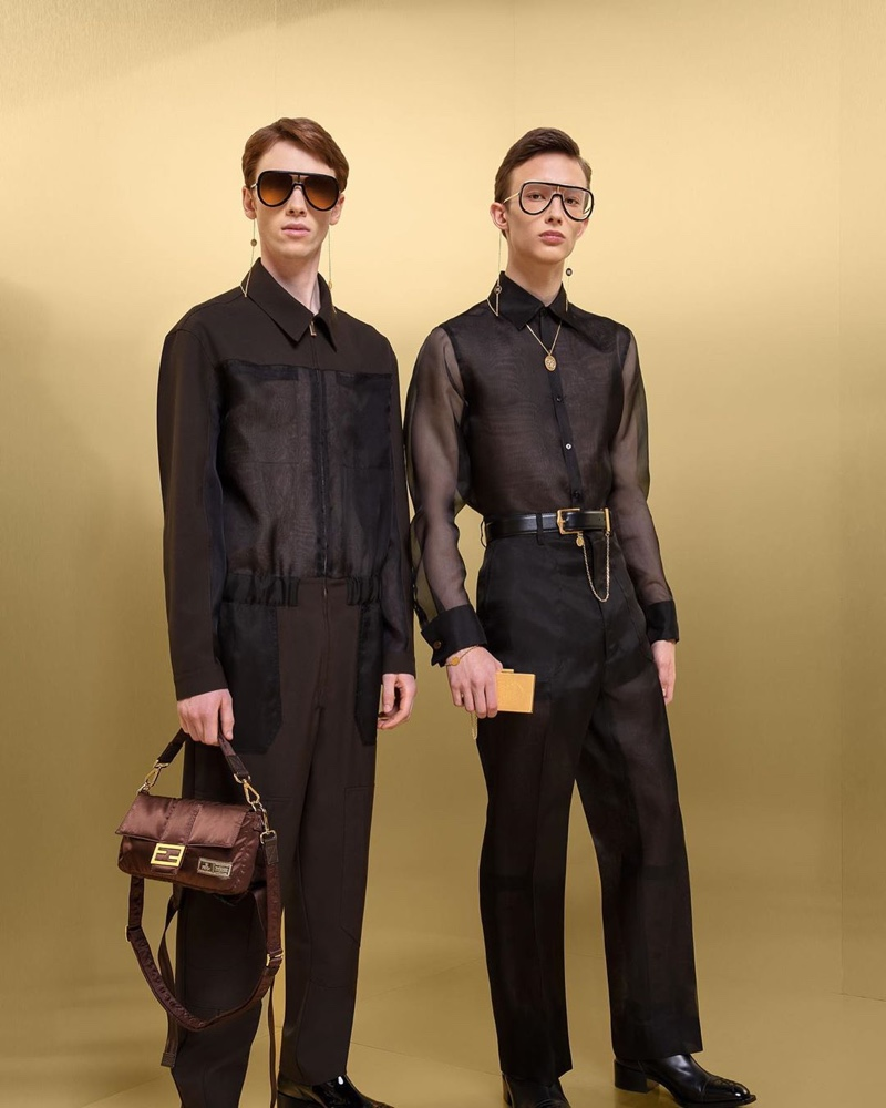 William de Courcy and Mateusz Chmielewski don sheer black looks from Fendi's fall-winter 2019 collection.