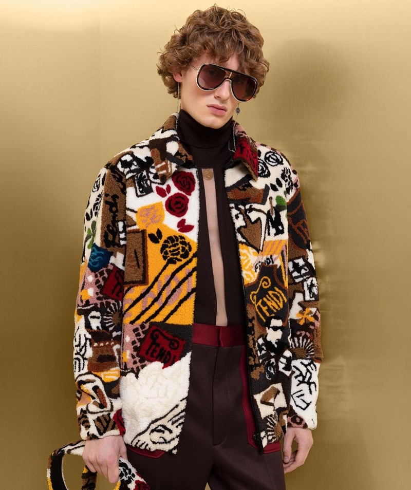 Lemmie van den Berg sports a graphic jacket and more from Fendi's fall-winter 2019 collection.