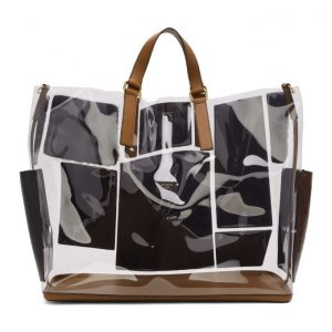 Fendi Transparent and Brown Leather and Fur Forever Fendi Patch Pocket Tote