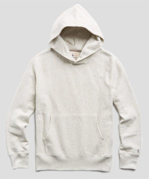 Fleece Popover Hoodie Sweatshirt in Eggshell Mix