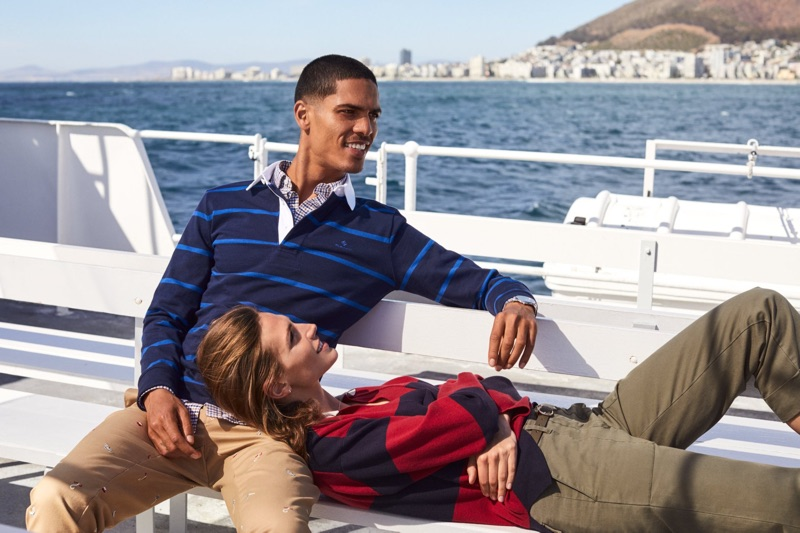Embracing nautical style, Geron McKinley and Karlina Caune appear in Gant's fall 2019 campaign.