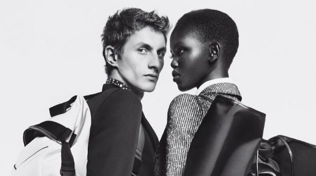 "Henry Kitcher and Adut Akech front Givenchy's 2019 ""Winter of Eden"" campaign."