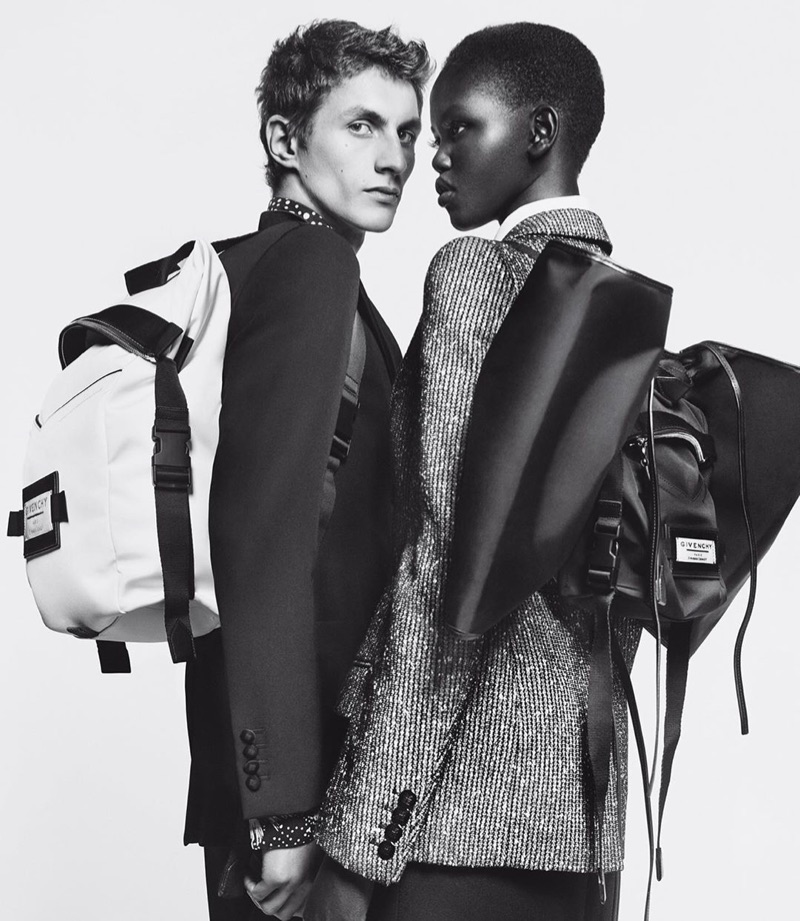 """Henry Kitcher and Adut Akech front Givenchy's 2019 """"Winter of Eden"""" campaign."""