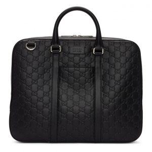 Gucci Black Embossed Signature Briefcase