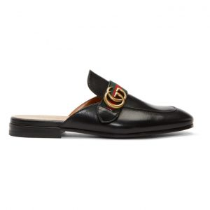 Gucci Black GG Princetown Slippers