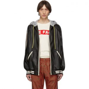 Gucci Black Leather Hood Bomber Jacket