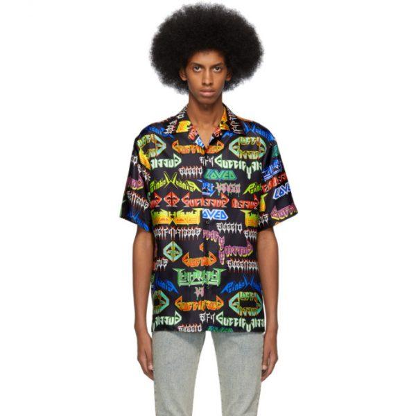 Gucci Black Silk Metal Shirt