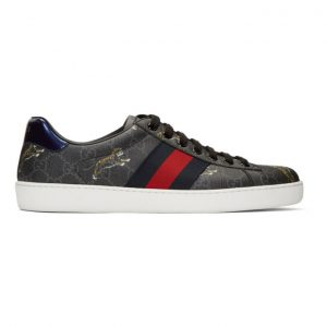 Gucci Black and Grey Supreme Ace GG Tiger Sneakers