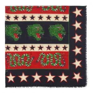 Gucci Black and Red Panther Scarf