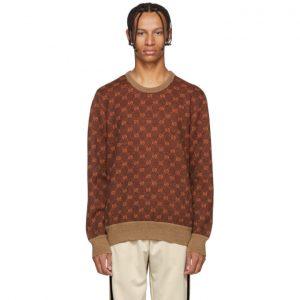 Gucci Brown and Orange GG Logo Sweater