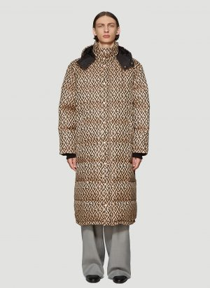 Gucci G Rhombus Padded Coat in Brown size IT - 46