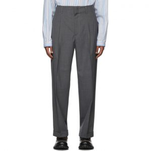 Gucci Grey Wool Pleated Trousers