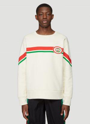 Gucci Logo Stripe Sweatshirt in White size S