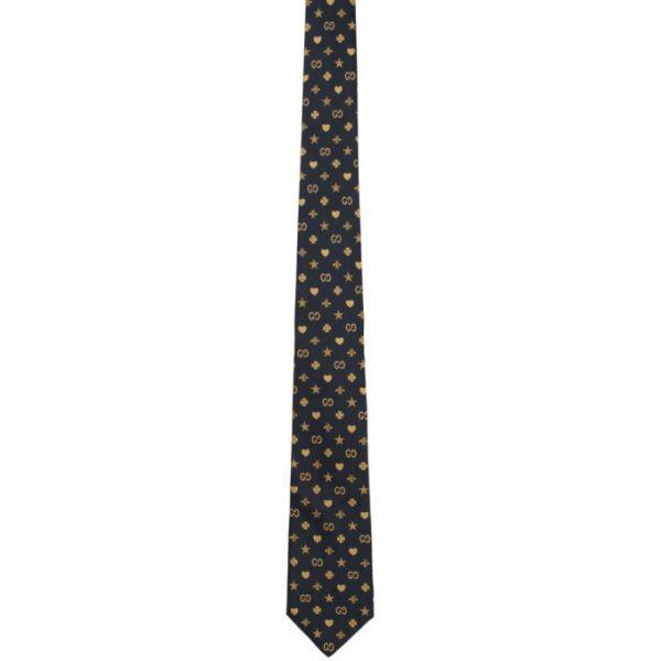 Gucci Navy and Beige Silk Symbols Tie
