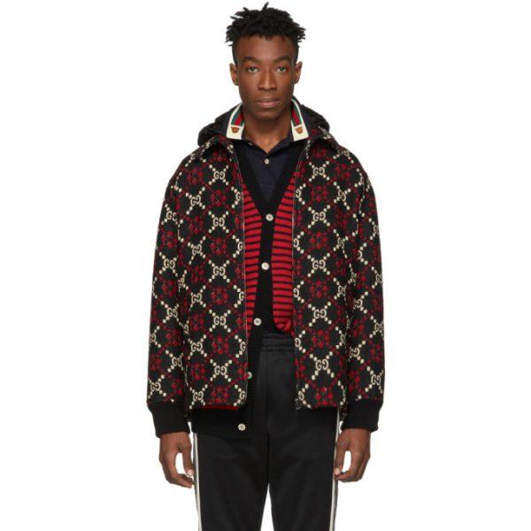 Gucci Red and Black Wool Macro GG Diamond Jacket