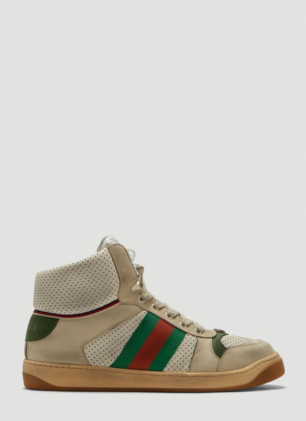 Gucci Screener Leather High-Top Sneakers in Beige size UK - 10