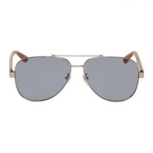 Gucci Silver Aviator Sunglasses