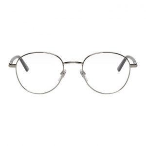 Gucci Silver and Black Round Glasses