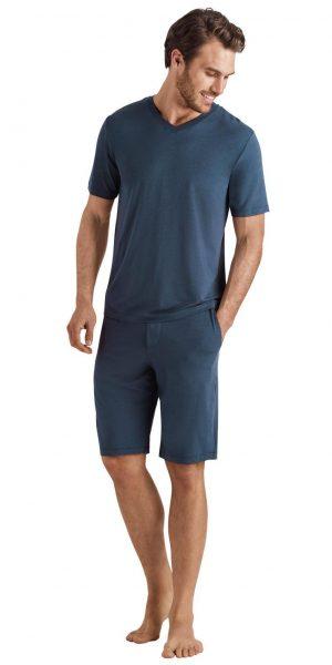 HANRO Casuals S/SLV Shirt V-Neck - Seaport S - 75035