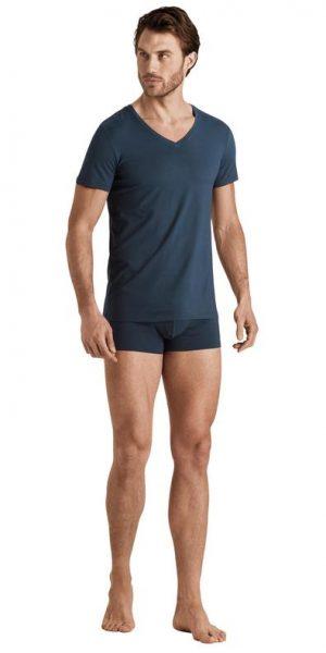 HANRO Cotton Superior V-Neck Shirt - Coal Grey L - 73089