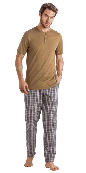 HANRO Night & Day Woven Lounge Pant - Artichoke Check S - 75436