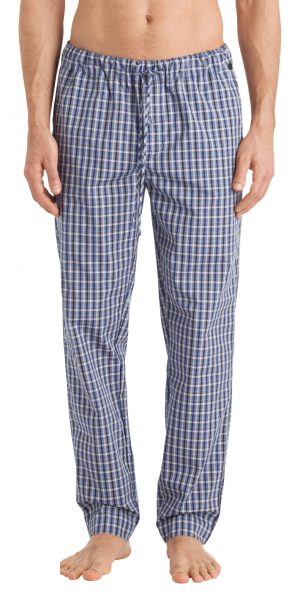 HANRO Night & Day Woven Lounge Pant - Blue Check S - 75436
