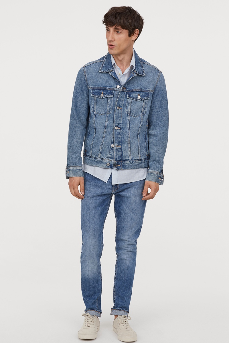 h & m dark blue mens super skinny jeans