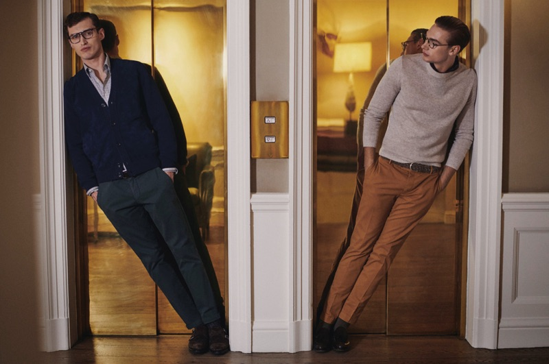 Smart in glasses, Charlie France and Tommy Marr fronts Hackett London's fall-winter 2019 campaign.