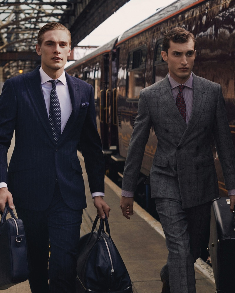 Donning sharp suits, Tommy Marr and Charlie France star in Hackett London's fall-winter 2019 campaign.