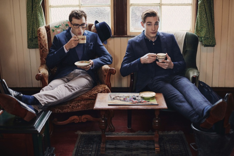 Enjoying tea, Charlie France and Tommy Marr star in Hackett London's fall-winter 2019 campaign.