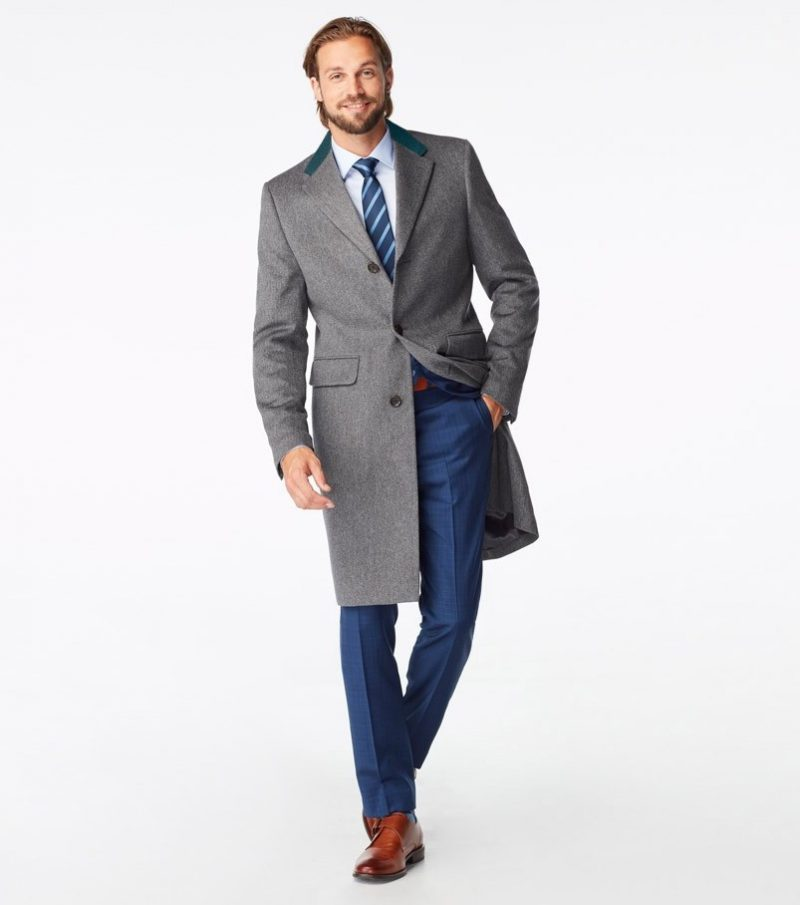 Indochino Huntley Chesterfield Gray Overcoat