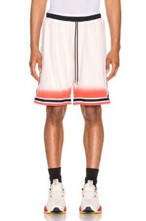 JOHN ELLIOTT Dip Dye Basketball Shorts in White,Orange