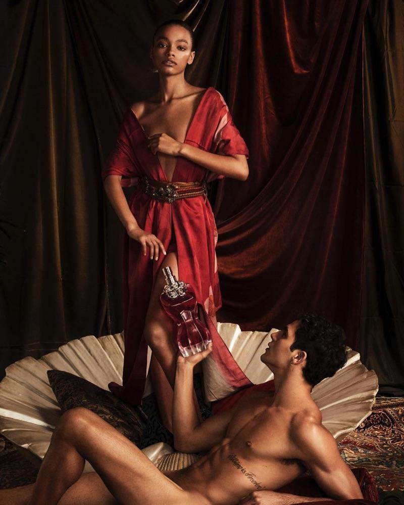 Alexis Sundman and Jhonattan Burjack appear in the Jean Paul Gaultier La Belle fragrance campaign.