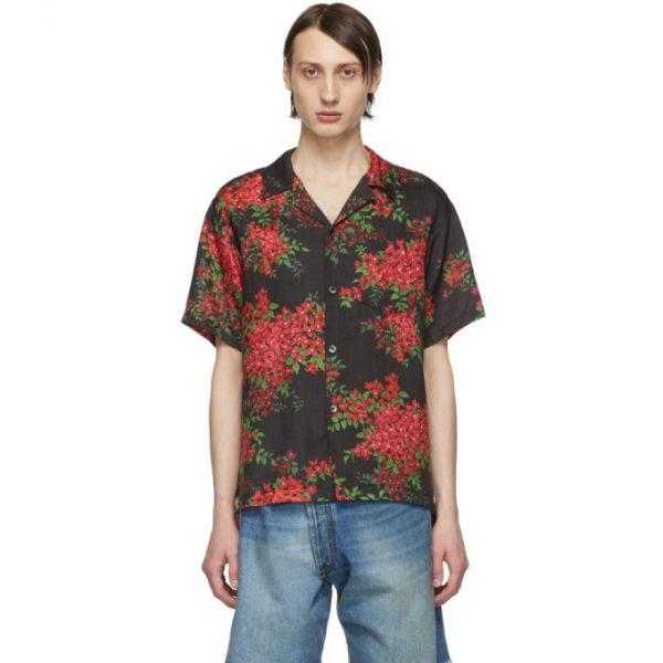 John Elliott Black Bougainvillea Bowling Short Sleeve Shirt