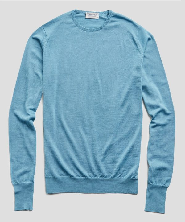 John Smedley Easy Fit Crewneck Merino Sweater in Glimpse Blue