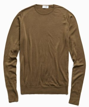 John Smedley Easy Fit Crewneck Merino Sweater in Khaki