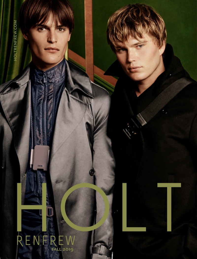 Models Parker van Noord and Jordan Barrett covers the fall 2019 edition of Holt Renfrew's men's magazine.