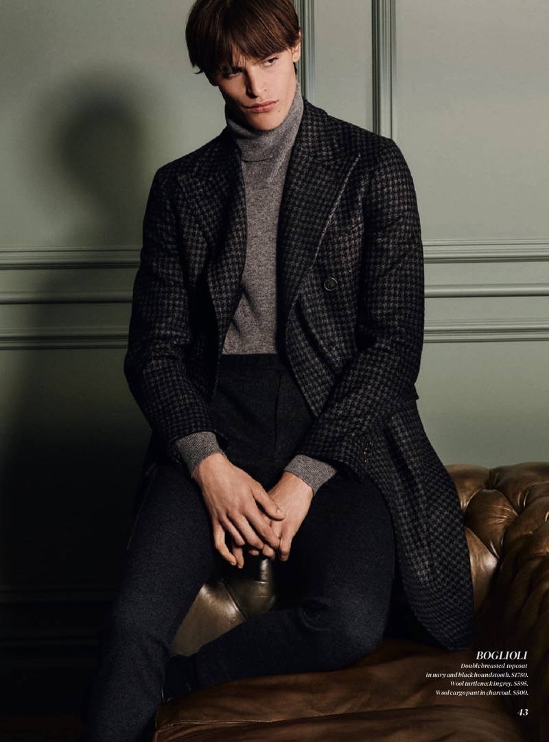 Model Parker van Noord sports a fall-winter 2019 look from Boglioli.