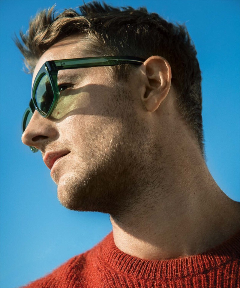 A cool vision, Justin Hartley stars in a feature for DuJour magazine.