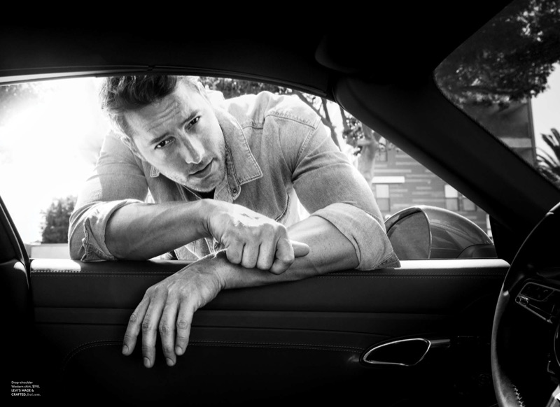 Justin Hartley sports a denim shirt by Levi's Made & Crafted for DuJour magazine.