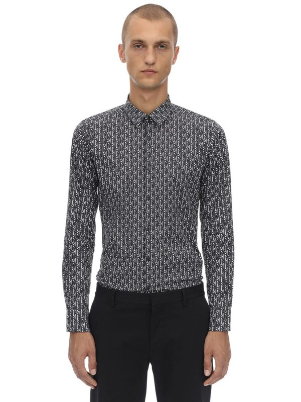 Karl Printed Cotton Blend Poplin Shirt