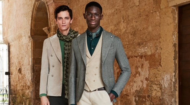 Models Jakob Wiechmann and Paco Diouf sport fashions from L.B.M. 1911's fall-winter 2019 collection.
