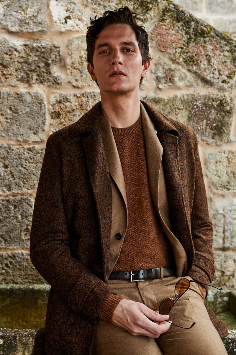 Embracing rich brown autumnal hues, Jakob Wiechmann dons a look from L.B.M. 1911's fall-winter 2019 collection.
