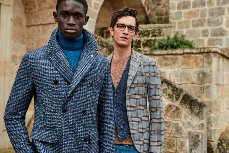 Sporting sleek style, Paco Diouf and Jakob Wiechmann wear looks from L.B.M. 1911's fall-winter 2019 collection.