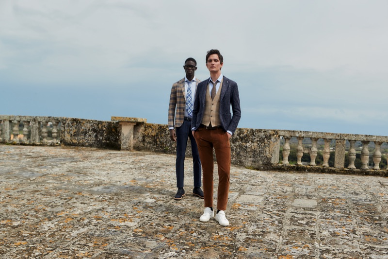 Embodying L.B.M. 1911's modern gentleman, models Paco Diouf and Jakob Wiechmann come together for the season.