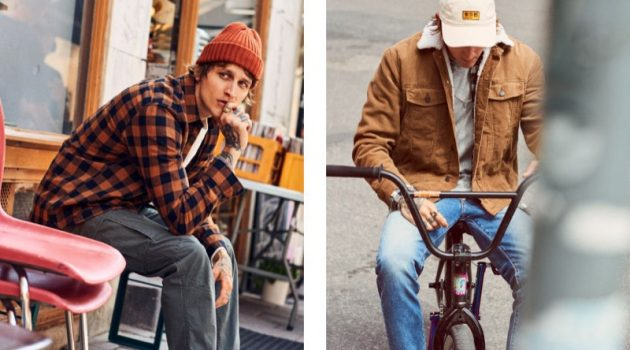 Going casual, Leebo Freeman models fall essentials like H&M's plaid shirt and corduroy jacket.