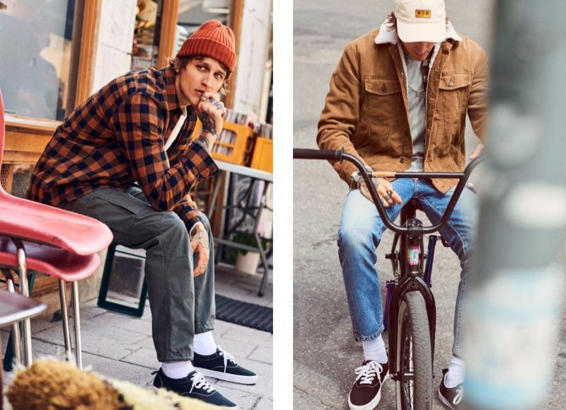 Going casual, Leebo Freeman models fall essentials like H&M's plaid shirt and corduroy jacket.