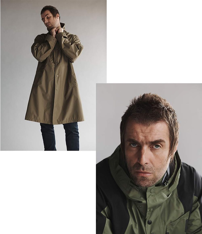 Left: Liam Gallagher wears a Helmut Lang hooded parka and Acne Studios jeans. Right: Gallagher rocks a hooded jacket by The North Face.