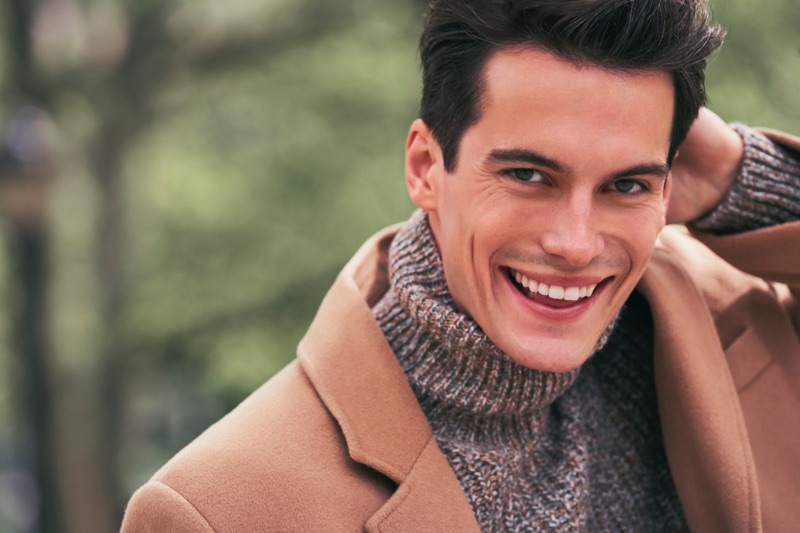 All smiles, Harry Rowley fronts London Fog's fall-winter 2019 campaign.
